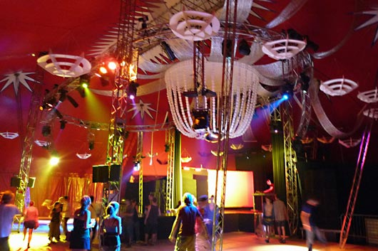 A shining sparkling gigantic chandellier with a mirror semisphere. An amazing decoration for the Magic Mirror tent. & MAGIC MIRROR - Projects - Medence Csoport